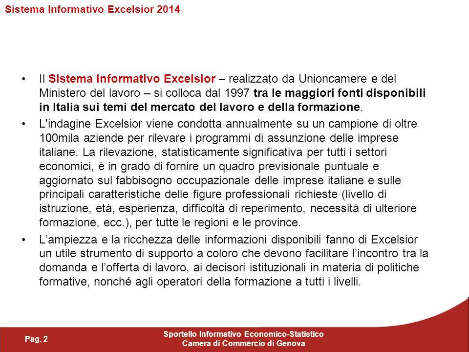 Il Sistema Informativo Excelsior – realizzato da Unioncamere e del Ministero del lavoro – si colloca dal 1997 tra le maggiori fonti disponibili in Ita