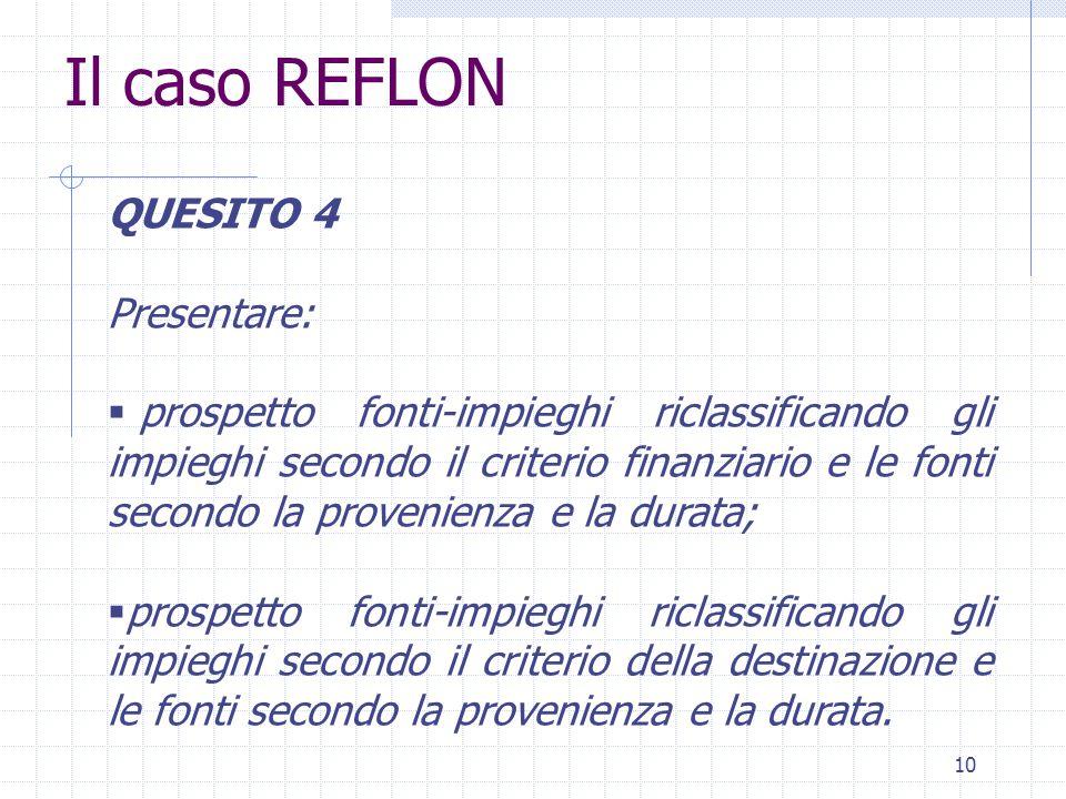 10 Il caso REFLON QUESITO 4 Presentare:  prospetto fonti-impieghi riclassificando gli impieghi secondo il criterio finanziario e le fonti secondo la