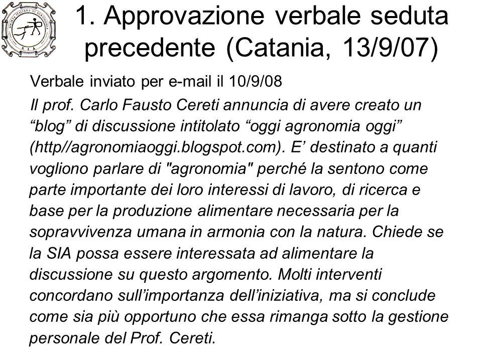 1. Approvazione verbale seduta precedente (Catania, 13/9/07) Verbale inviato per e-mail il 10/9/08 Il prof. Carlo Fausto Cereti annuncia di avere crea