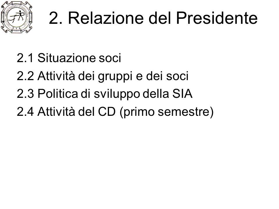 2. Relazione del Presidente 2.1 Situazione soci 2.2 Attività dei gruppi e dei soci 2.3 Politica di sviluppo della SIA 2.4 Attività del CD (primo semes