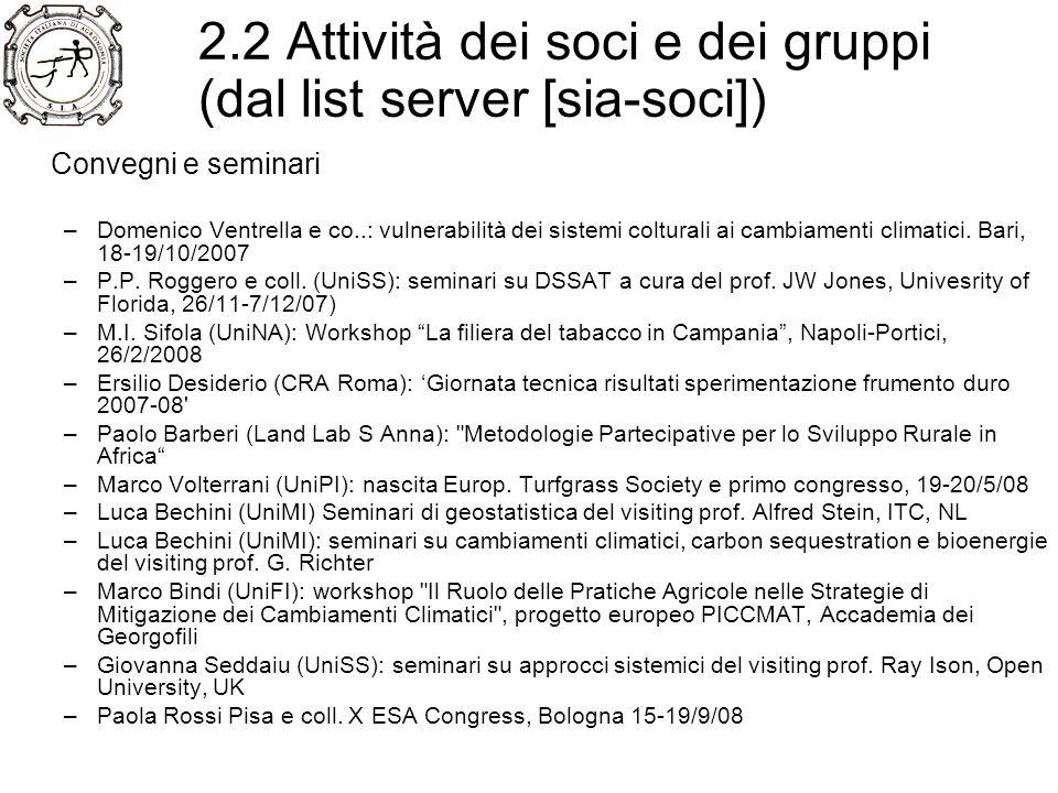 2.2 Attività dei soci e dei gruppi (dal list server [sia-soci]) Pubblicazione di nuovi manuali –Prof.