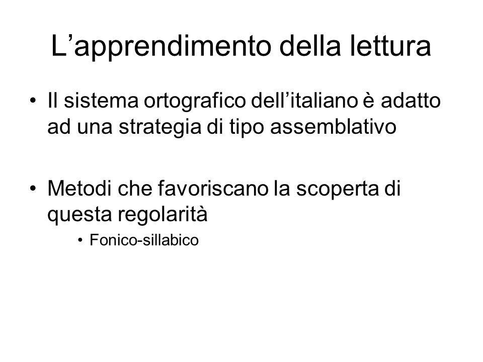 L'apprendimento della lettura Il sistema ortografico dell'italiano è adatto ad una strategia di tipo assemblativo Metodi che favoriscano la scoperta d