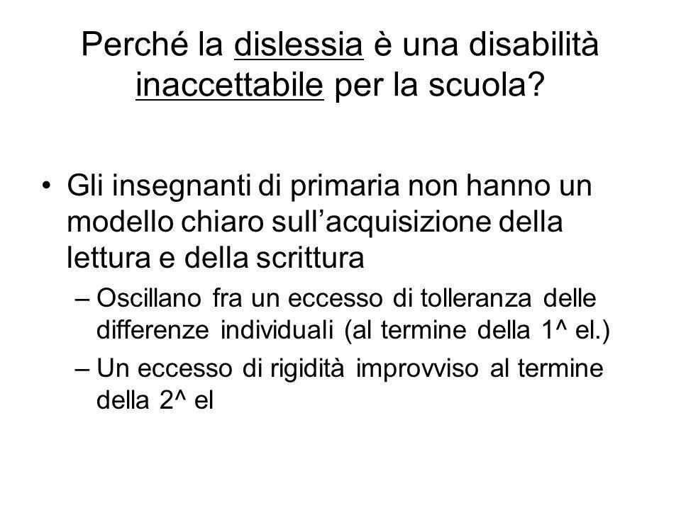 Perché la dislessia è una disabilità inaccettabile per la scuola? Gli insegnanti di primaria non hanno un modello chiaro sull'acquisizione della lettu