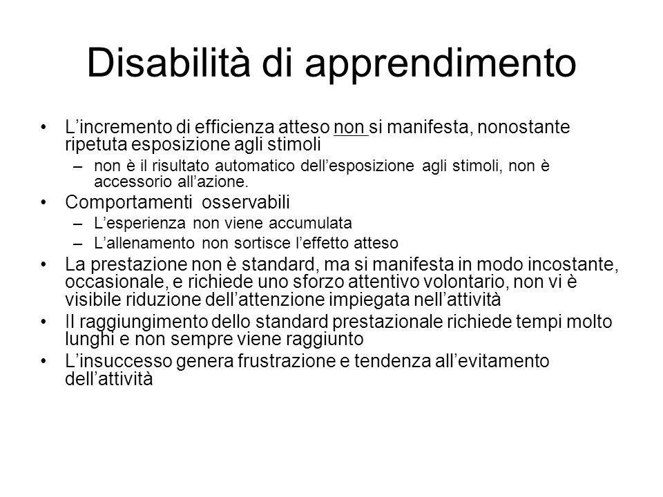 Disabilità di apprendimento L'incremento di efficienza atteso non si manifesta, nonostante ripetuta esposizione agli stimoli –non è il risultato autom