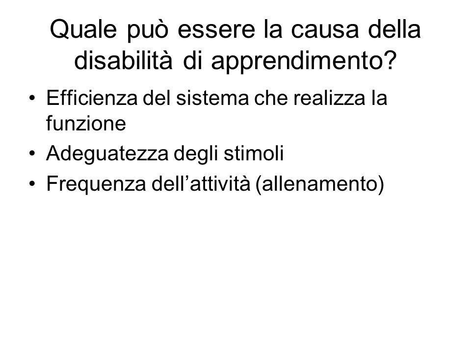 Quale può essere la causa della disabilità di apprendimento? Efficienza del sistema che realizza la funzione Adeguatezza degli stimoli Frequenza dell'