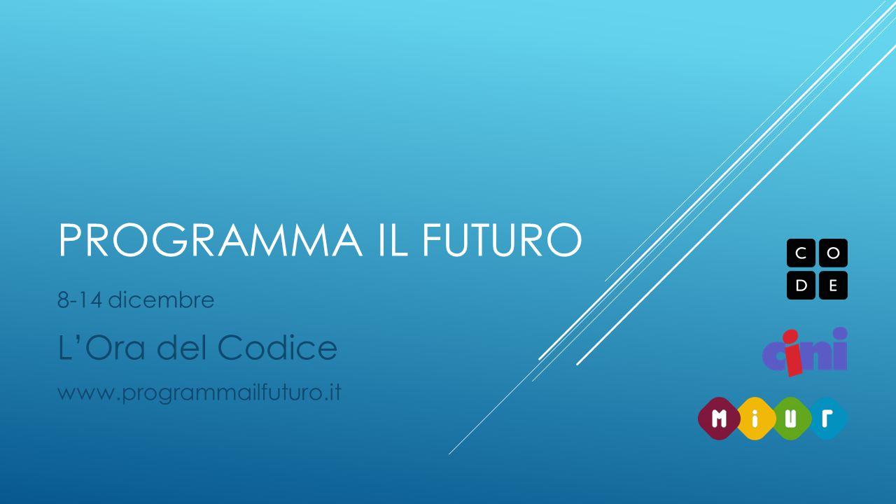 PROGRAMMA IL FUTURO 8-14 dicembre L'Ora del Codice www.programmailfuturo.it