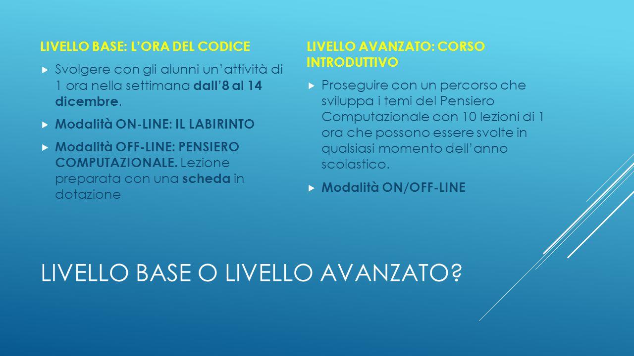 LIVELLO BASE O LIVELLO AVANZATO? LIVELLO BASE: L'ORA DEL CODICE  Svolgere con gli alunni un'attività di 1 ora nella settimana dall'8 al 14 dicembre.