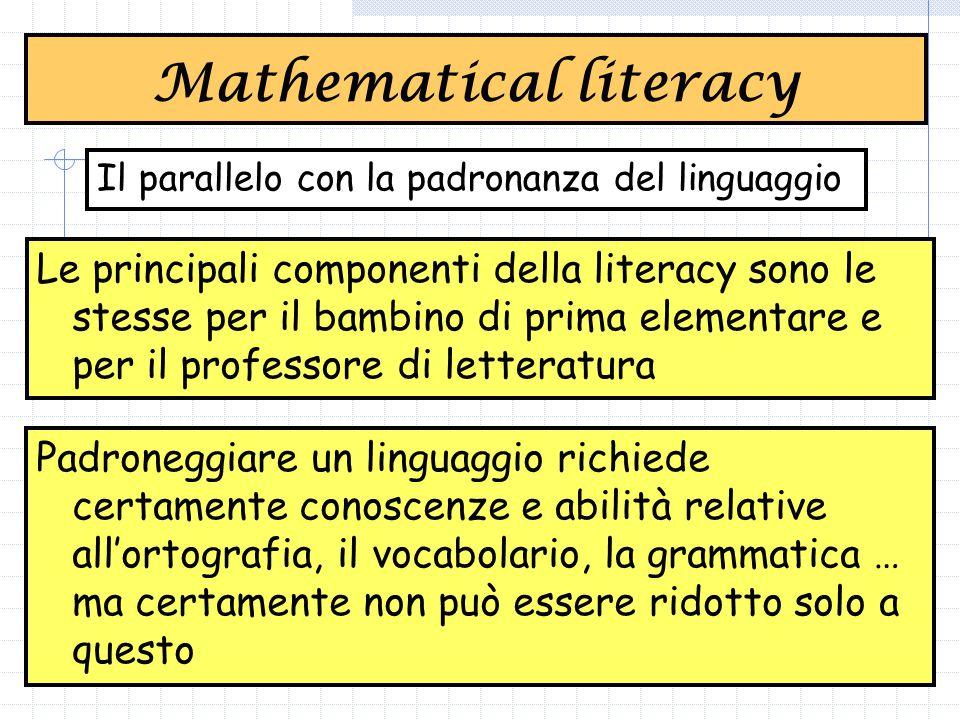 Le principali componenti della literacy sono le stesse per il bambino di prima elementare e per il professore di letteratura Mathematical literacy Il parallelo con la padronanza del linguaggio Padroneggiare un linguaggio richiede certamente conoscenze e abilità relative all'ortografia, il vocabolario, la grammatica … ma certamente non può essere ridotto solo a questo