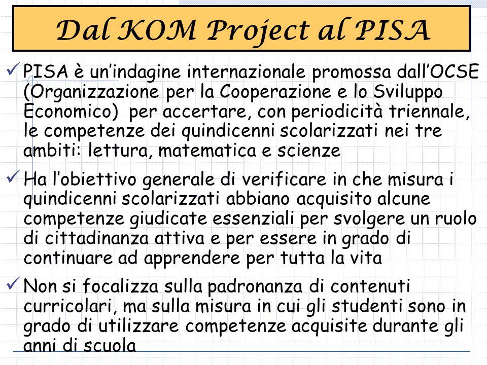 Dal KOM Project al PISA PISA è un'indagine internazionale promossa dall'OCSE (Organizzazione per la Cooperazione e lo Sviluppo Economico) per accertare, con periodicità triennale, le competenze dei quindicenni scolarizzati nei tre ambiti: lettura, matematica e scienze Ha l'obiettivo generale di verificare in che misura i quindicenni scolarizzati abbiano acquisito alcune competenze giudicate essenziali per svolgere un ruolo di cittadinanza attiva e per essere in grado di continuare ad apprendere per tutta la vita Non si focalizza sulla padronanza di contenuti curricolari, ma sulla misura in cui gli studenti sono in grado di utilizzare competenze acquisite durante gli anni di scuola