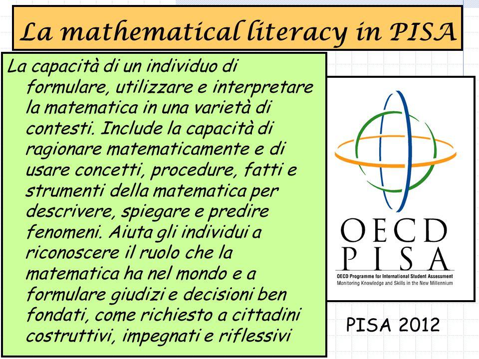 La mathematical literacy in PISA La capacità di un individuo di formulare, utilizzare e interpretare la matematica in una varietà di contesti.