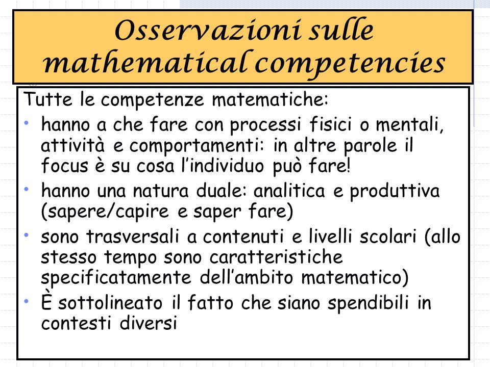 Tutte le competenze matematiche: hanno a che fare con processi fisici o mentali, attività e comportamenti: in altre parole il focus è su cosa l'individuo può fare.