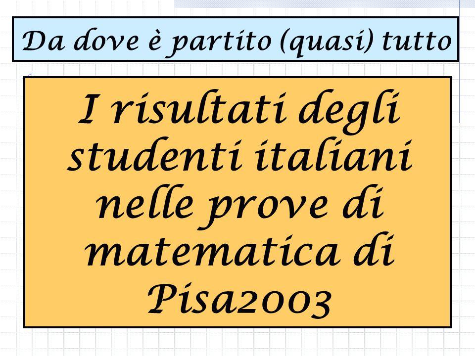 I risultati degli studenti italiani nelle prove di matematica di Pisa2003 Da dove è partito (quasi) tutto