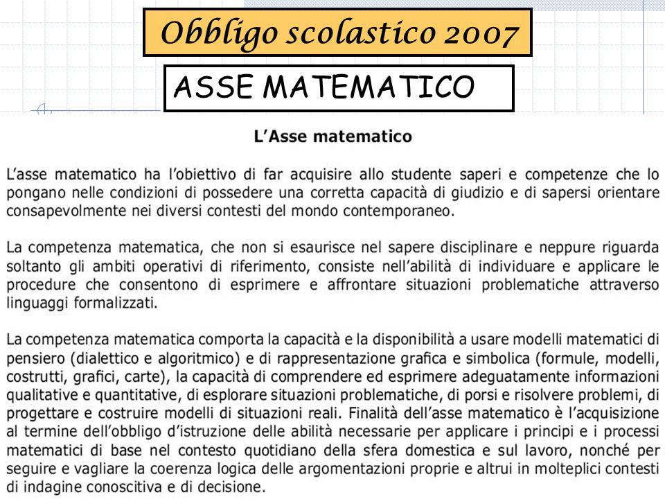 Obbligo scolastico 2007 ASSE MATEMATICO