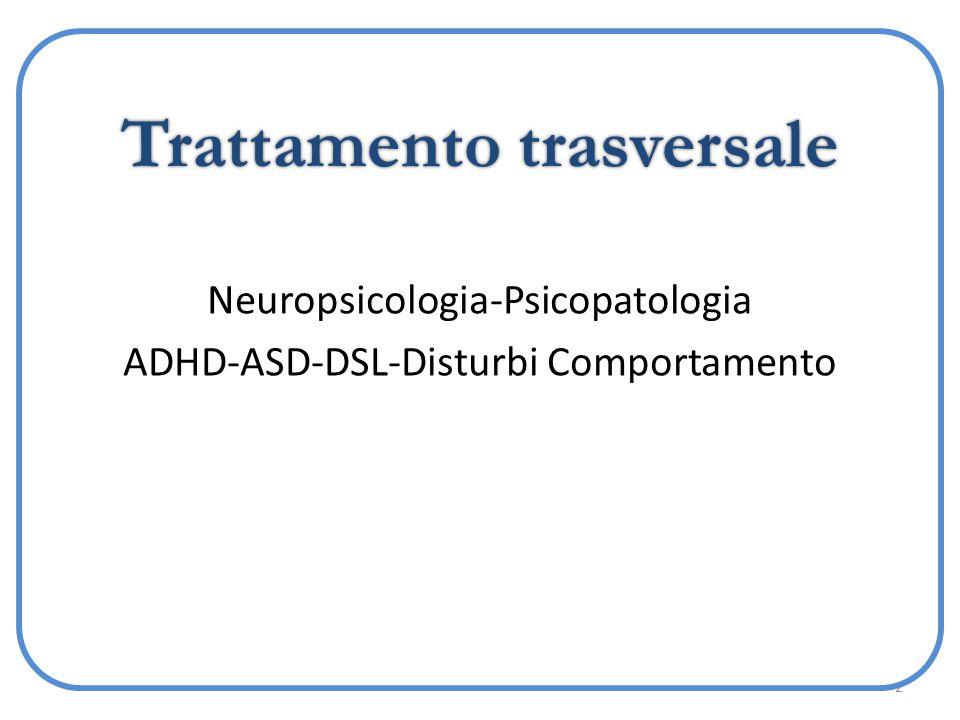 2 Trattamento trasversale Neuropsicologia-Psicopatologia ADHD-ASD-DSL-Disturbi Comportamento