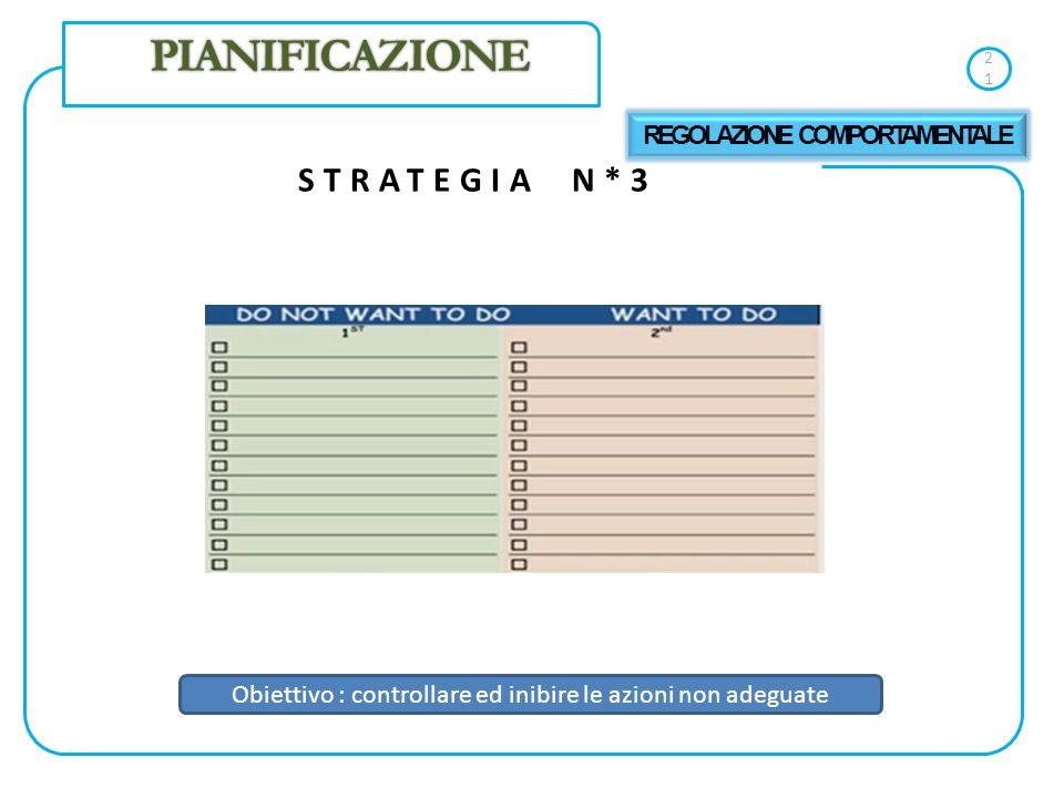 21 STRATEGIA N*3 PIANIFICAZIONE REGOLAZIONE COMPORTAMENTALE Obiettivo : controllare ed inibire le azioni non adeguate
