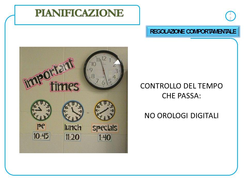 22 CONTROLLO DEL TEMPO CHE PASSA: NO OROLOGI DIGITALI PIANIFICAZIONE REGOLAZIONE COMPORTAMENTALE