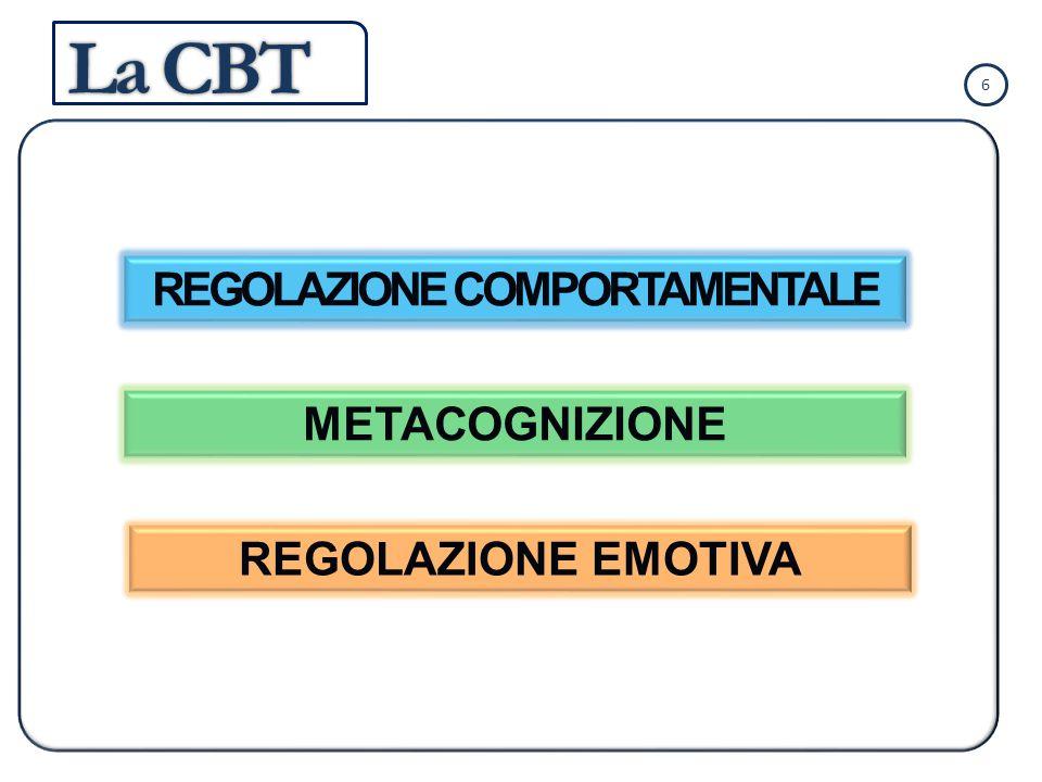 REGOLAZIONE EMOTIVA METACOGNIZIONE REGOLAZIONE COMPORTAMENTALE 6 La CBT