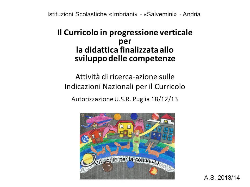 Attività di ricerca-azione sulle Indicazioni Nazionali per il Curricolo a Autorizzazione U.S.R. Puglia 18/12/13 Istituzioni Scolastiche «Imbriani» - «