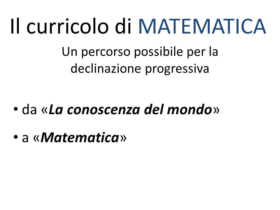 Il curricolo di MATEMATICA Un percorso possibile per la declinazione progressiva da «La conoscenza del mondo» a «Matematica»