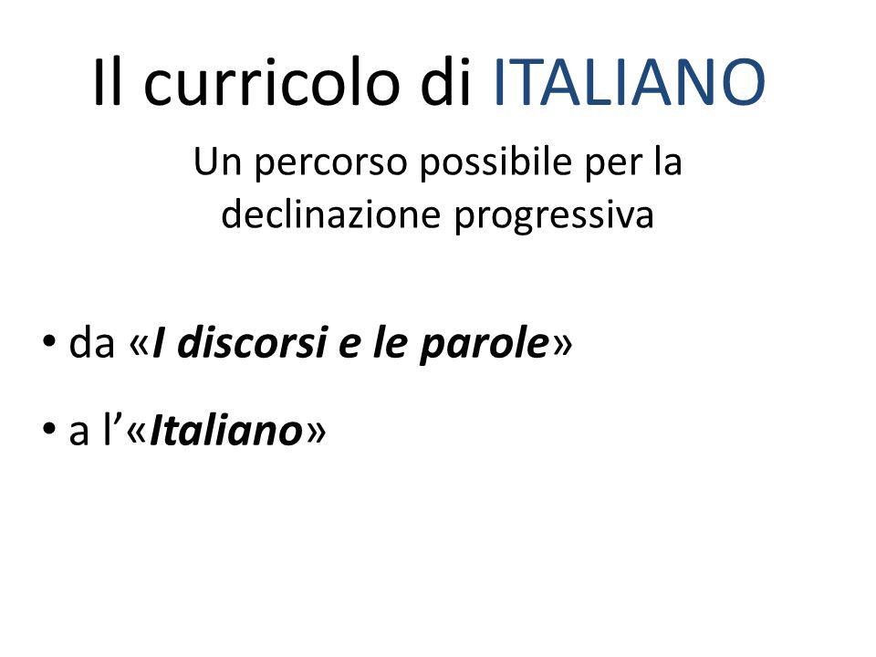 Il curricolo di ITALIANO Un percorso possibile per la declinazione progressiva da «I discorsi e le parole» a l'«Italiano»