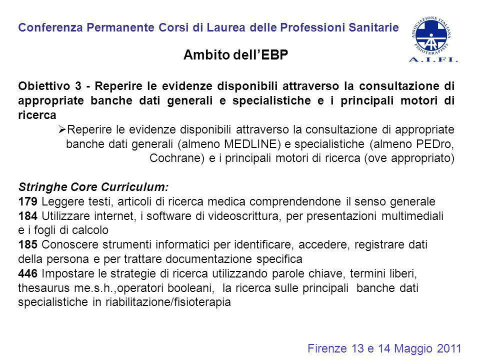 Conferenza Permanente Corsi di Laurea delle Professioni Sanitarie Firenze 13 e 14 Maggio 2011 Ambito dell'EBP Obiettivo 3 - Reperire le evidenze dispo