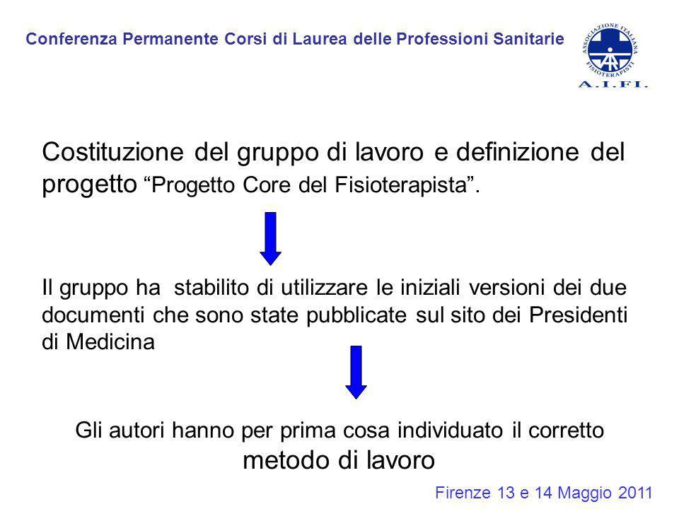 """Firenze 13 e 14 Maggio 2011 Costituzione del gruppo di lavoro e definizione del progetto """"Progetto Core del Fisioterapista"""". Il gruppo ha stabilito di"""