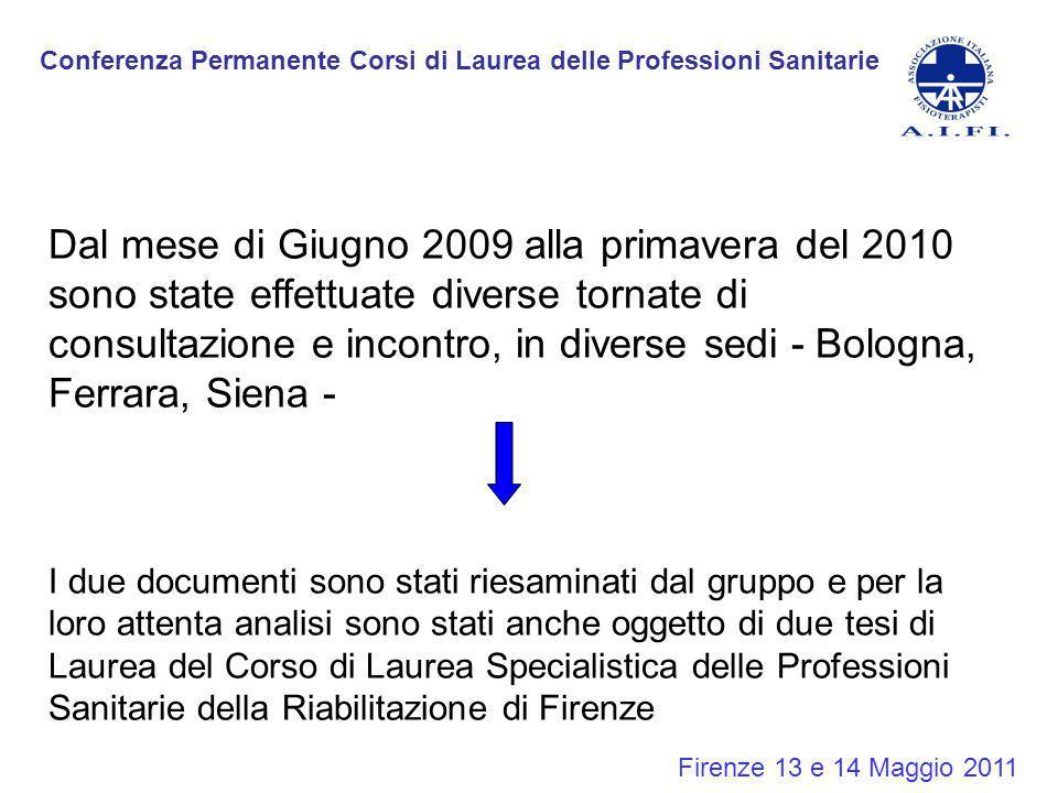 Conferenza Permanente Corsi di Laurea delle Professioni Sanitarie Firenze 13 e 14 Maggio 2011 Dal mese di Giugno 2009 alla primavera del 2010 sono sta