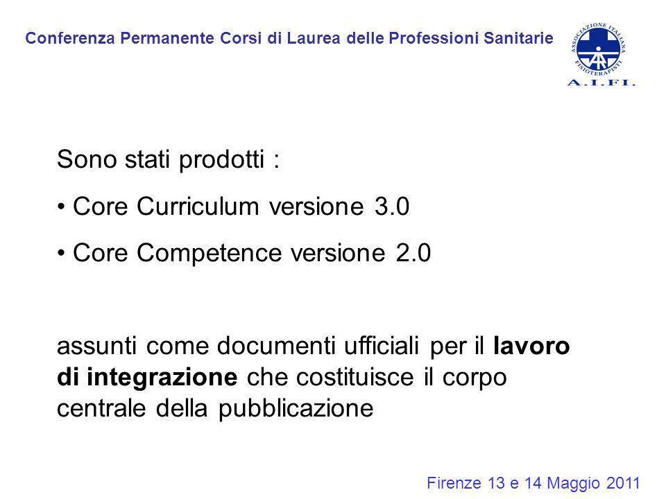 Conferenza Permanente Corsi di Laurea delle Professioni Sanitarie Firenze 13 e 14 Maggio 2011 Sono stati prodotti : Core Curriculum versione 3.0 Core