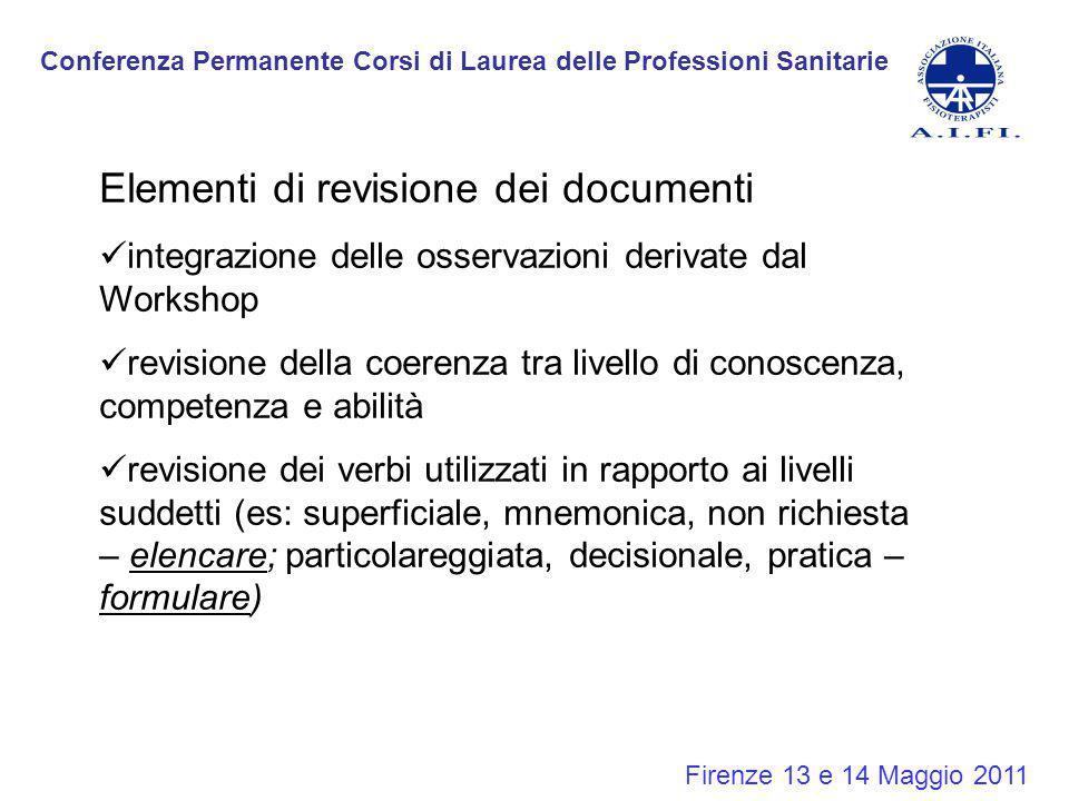 Conferenza Permanente Corsi di Laurea delle Professioni Sanitarie Firenze 13 e 14 Maggio 2011 Elementi di revisione dei documenti integrazione delle o