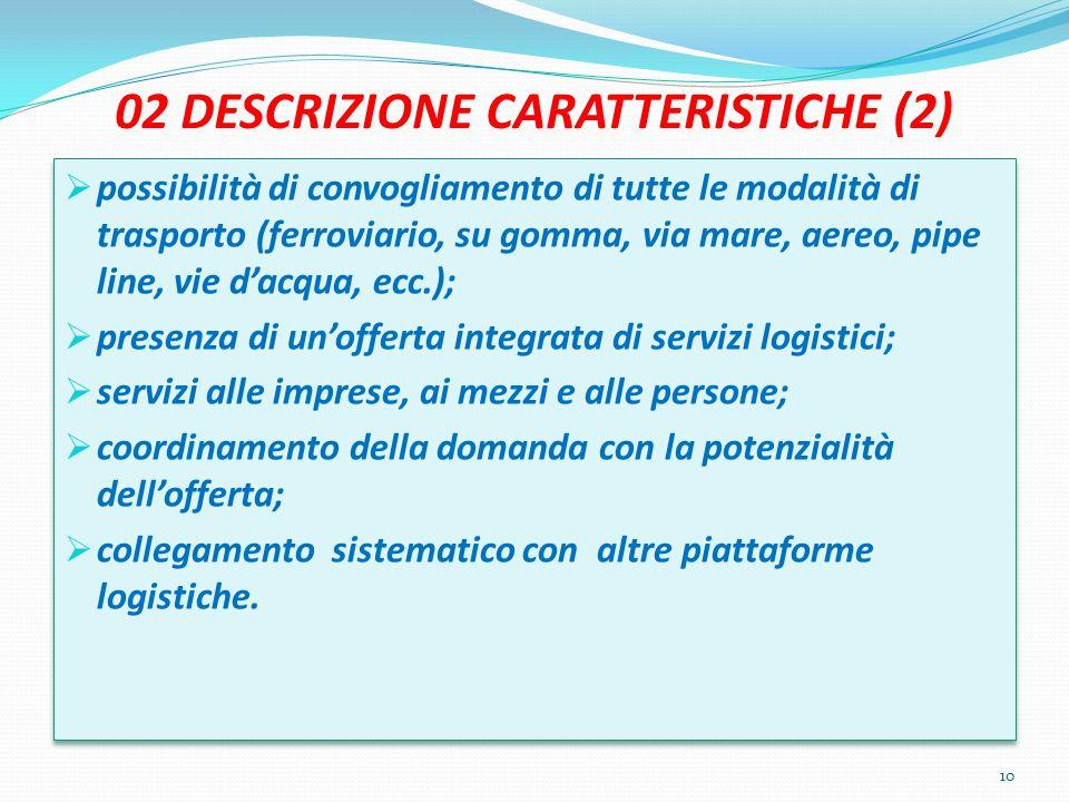 02 DESCRIZIONE CARATTERISTICHE (2)  possibilità di convogliamento di tutte le modalità di trasporto (ferroviario, su gomma, via mare, aereo, pipe lin