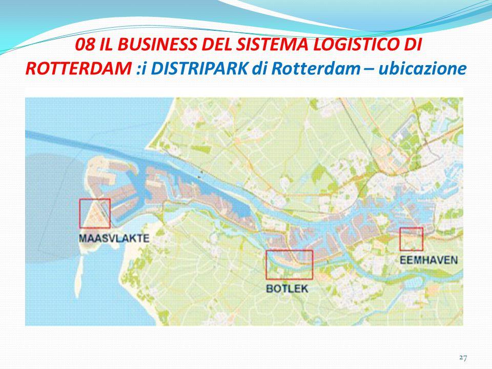 08 IL BUSINESS DEL SISTEMA LOGISTICO DI ROTTERDAM :i DISTRIPARK di Rotterdam – ubicazione 27