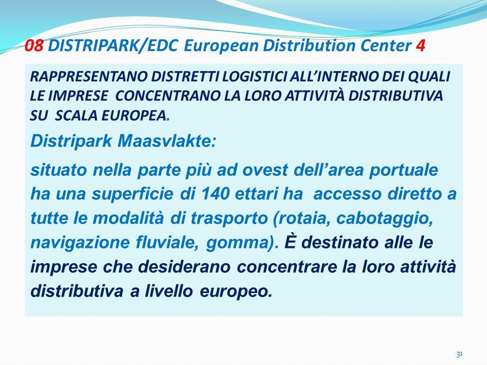 08 DISTRIPARK/EDC European Distribution Center 4 RAPPRESENTANO DISTRETTI LOGISTICI ALL'INTERNO DEI QUALI LE IMPRESE CONCENTRANO LA LORO ATTIVITÀ DISTR