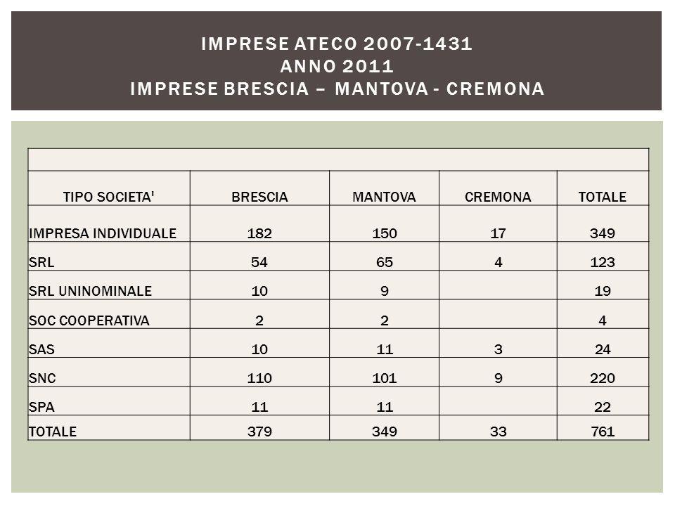 TIPO SOCIETA BRESCIAMANTOVACREMONATOTALE IMPRESA INDIVIDUALE18215017349 SRL54654123 SRL UNINOMINALE109 19 SOC COOPERATIVA22 4 SAS1011324 SNC1101019220 SPA11 22 TOTALE37934933761 IMPRESE ATECO 2007-1431 ANNO 2011 IMPRESE BRESCIA – MANTOVA - CREMONA