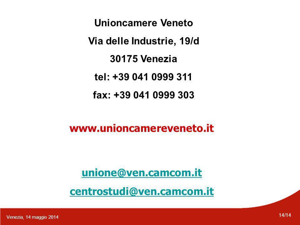 14/14 Venezia, 14 maggio 2014 Unioncamere Veneto Via delle Industrie, 19/d 30175 Venezia tel: +39 041 0999 311 fax: +39 041 0999 303 www.unioncamereveneto.it unione@ven.camcom.it centrostudi@ven.camcom.it