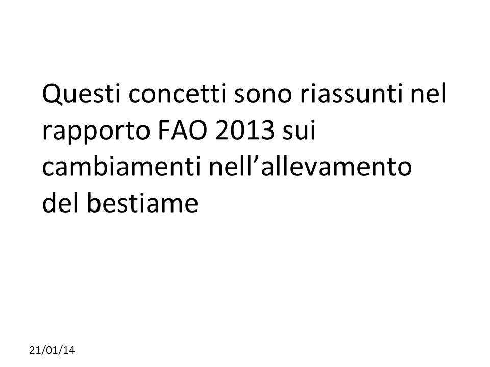 Questi concetti sono riassunti nel rapporto FAO 2013 sui cambiamenti nell'allevamento del bestiame 21/01/14