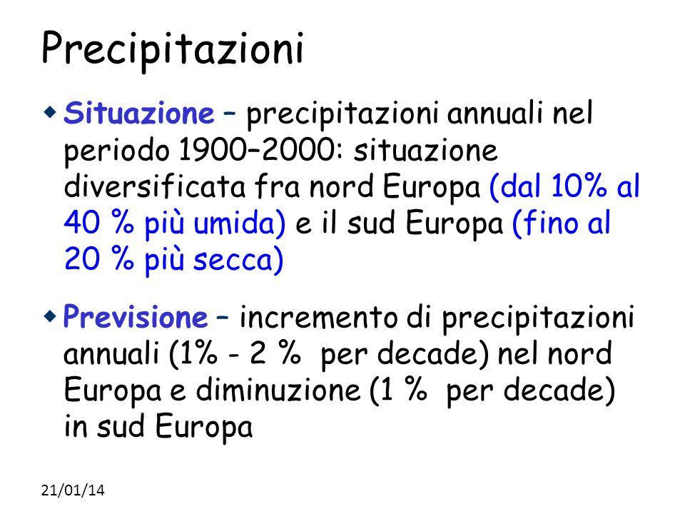 Precipitazioni  Situazione – precipitazioni annuali nel periodo 1900–2000: situazione diversificata fra nord Europa (dal 10% al 40 % più umida) e il