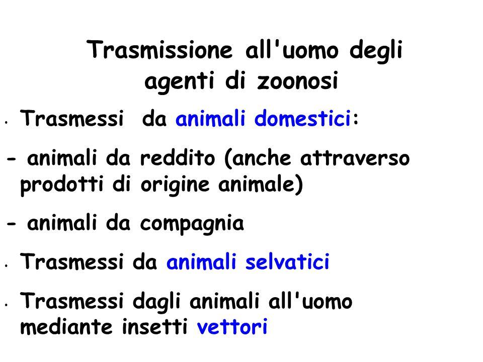 Trasmissione all'uomo degli agenti di zoonosi Trasmessi da animali domestici: - animali da reddito (anche attraverso prodotti di origine animale) - an