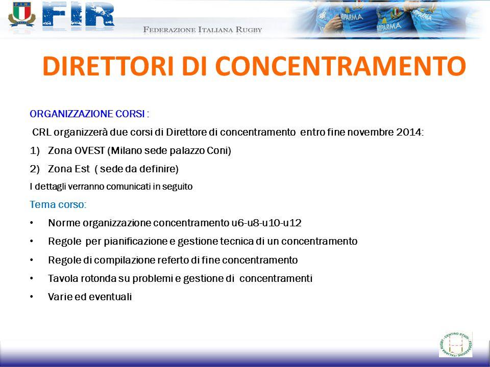 DIRETTORI DI CONCENTRAMENTO ORGANIZZAZIONE CORSI : CRL organizzerà due corsi di Direttore di concentramento entro fine novembre 2014: 1)Zona OVEST (Mi