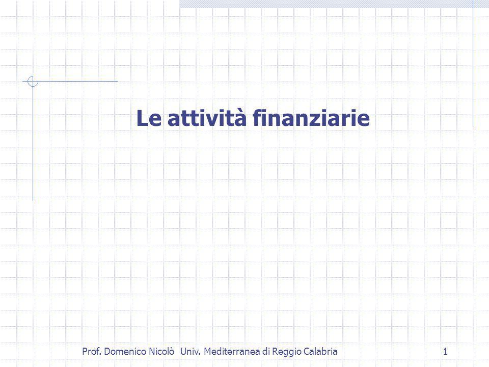 Prof. Domenico Nicolò Univ. Mediterranea di Reggio Calabria1 Le attività finanziarie