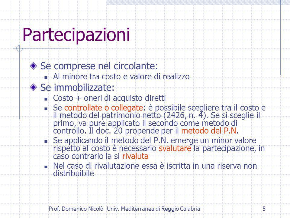 Prof.Domenico Nicolò Univ. Mediterranea di Reggio Calabria6 Si abbandona il metodo del P.N.