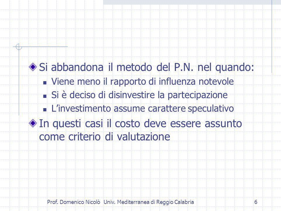 Prof. Domenico Nicolò Univ. Mediterranea di Reggio Calabria6 Si abbandona il metodo del P.N.