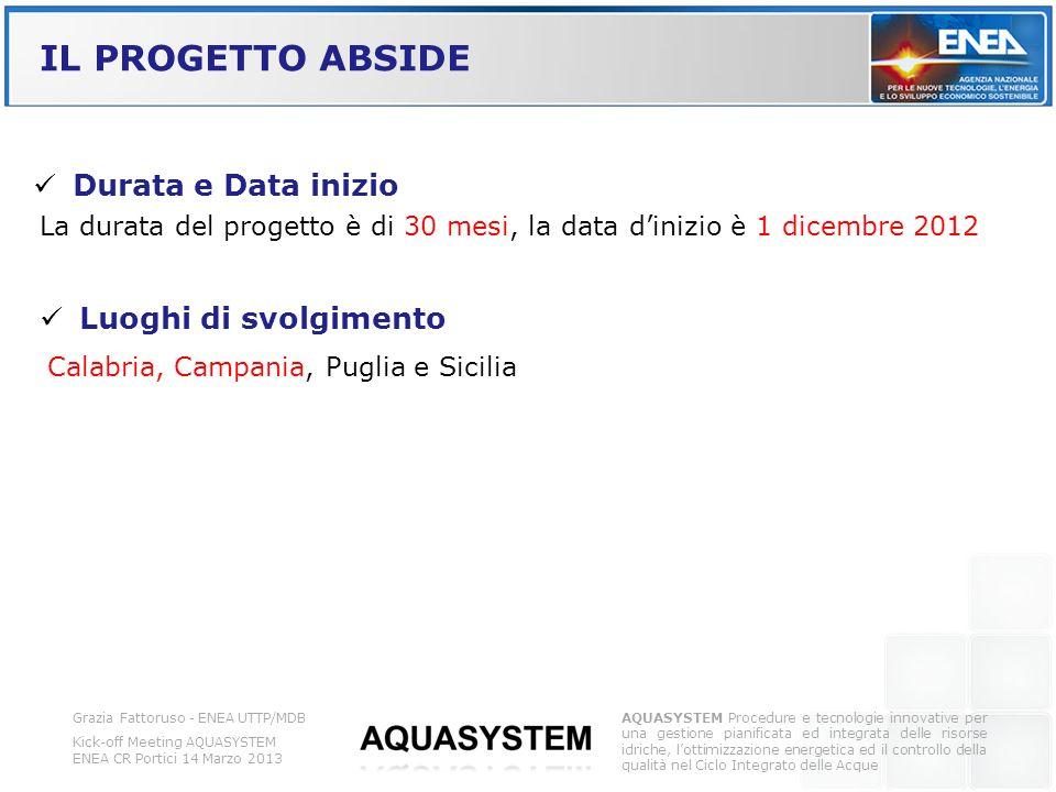 IL PROGETTO ABSIDE Grazia Fattoruso - ENEA UTTP/MDB Kick-off Meeting AQUASYSTEM ENEA CR Portici 14 Marzo 2013 AQUASYSTEM Procedure e tecnologie innova