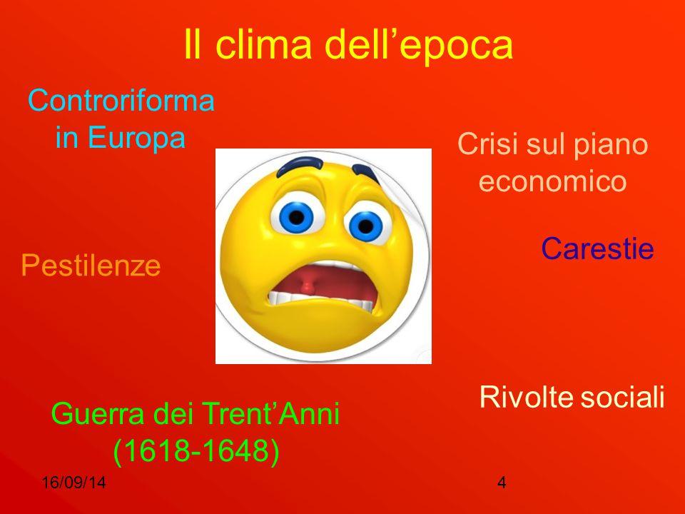 16/09/144 Il clima dell'epoca Controriforma in Europa Guerra dei Trent'Anni (1618-1648) Carestie Pestilenze Crisi sul piano economico Rivolte sociali