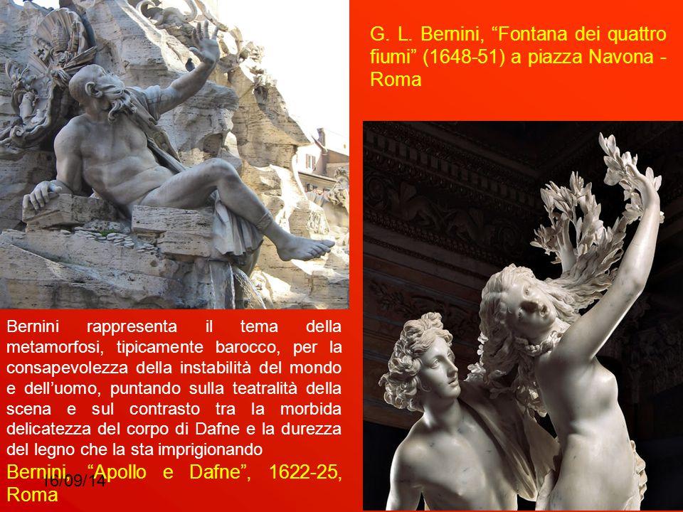 """16/09/148 G. L. Bernini, """"Fontana dei quattro fiumi"""" (1648-51) a piazza Navona - Roma Bernini, """"Apollo e Dafne"""", 1622-25, Roma Bernini rappresenta il"""