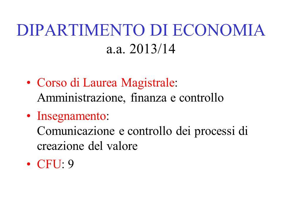 DIPARTIMENTO DI ECONOMIA a.a.