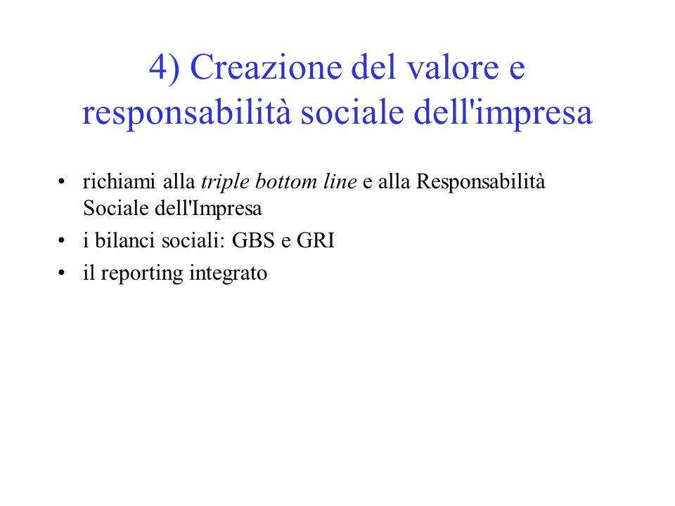 4) Creazione del valore e responsabilità sociale dell impresa richiami alla triple bottom line e alla Responsabilità Sociale dell Impresa i bilanci sociali: GBS e GRI il reporting integrato