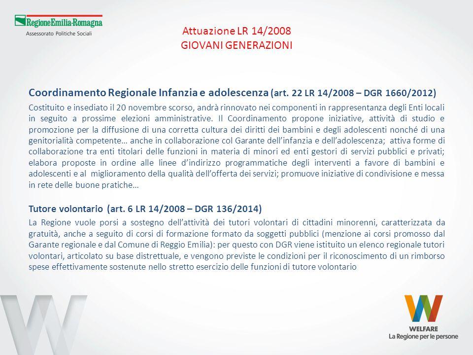 Attuazione LR 14/2008 GIOVANI GENERAZIONI Coordinamento Regionale Infanzia e adolescenza (art.