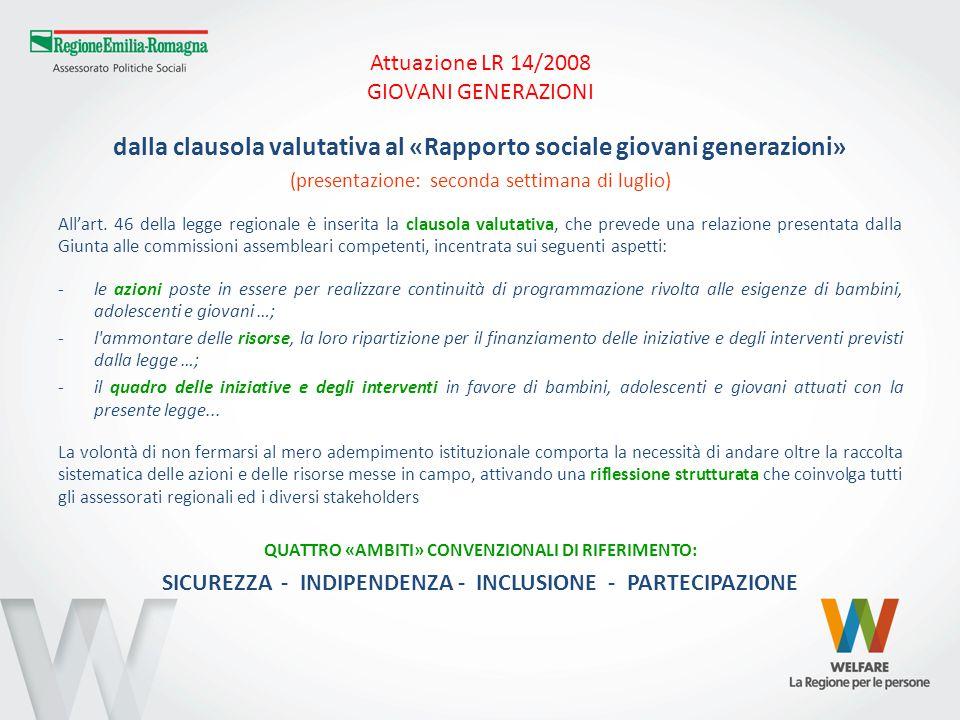 Attuazione LR 14/2008 GIOVANI GENERAZIONI VERSO IL RAPPORTO SOCIALE→ ambito SICUREZZA