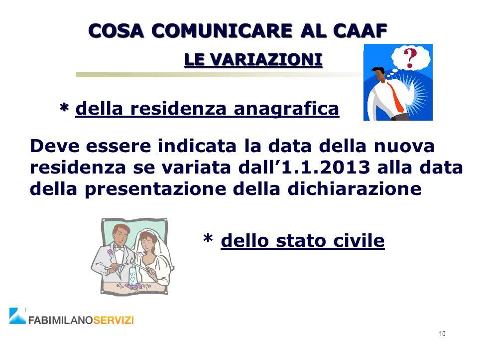 COSA COMUNICARE AL CAAF LE VARIAZIONI LE VARIAZIONI * * della residenza anagrafica Deve essere indicata la data della nuova residenza se variata dall'