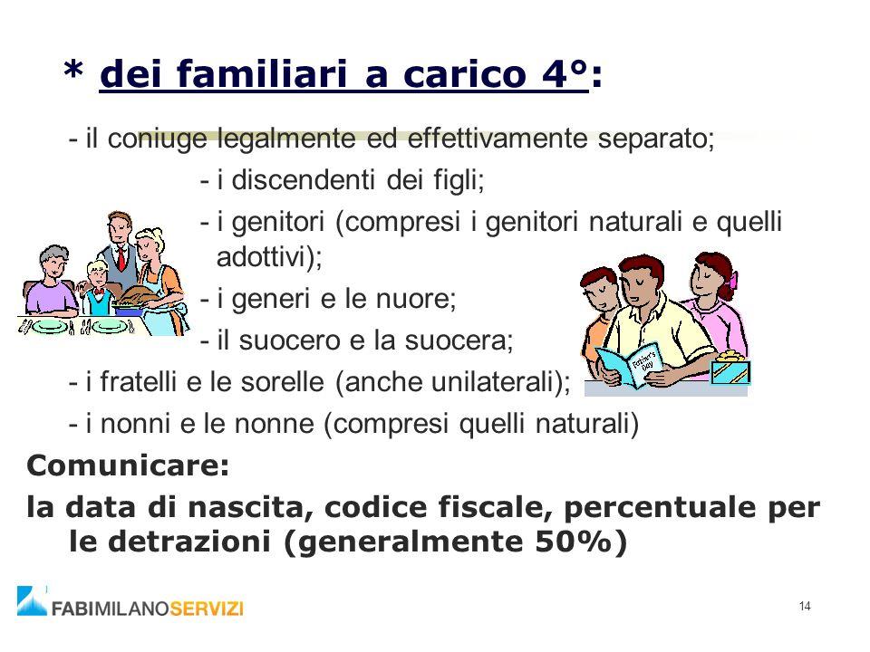 14 * dei familiari a carico 4°: - il coniuge legalmente ed effettivamente separato; - i discendenti dei figli; - i genitori (compresi i genitori natur